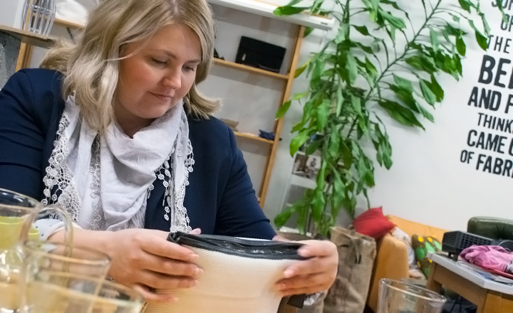 HR Business Partner Anna Kujanpää discovered Globe Hope online. The design company uses discarded materials to create new products that conserve and reuse natural resources and comply with ethical principles.