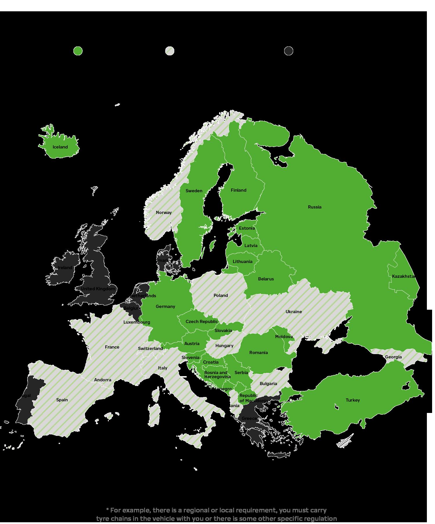 Изисквания за зимните гуми в Европа