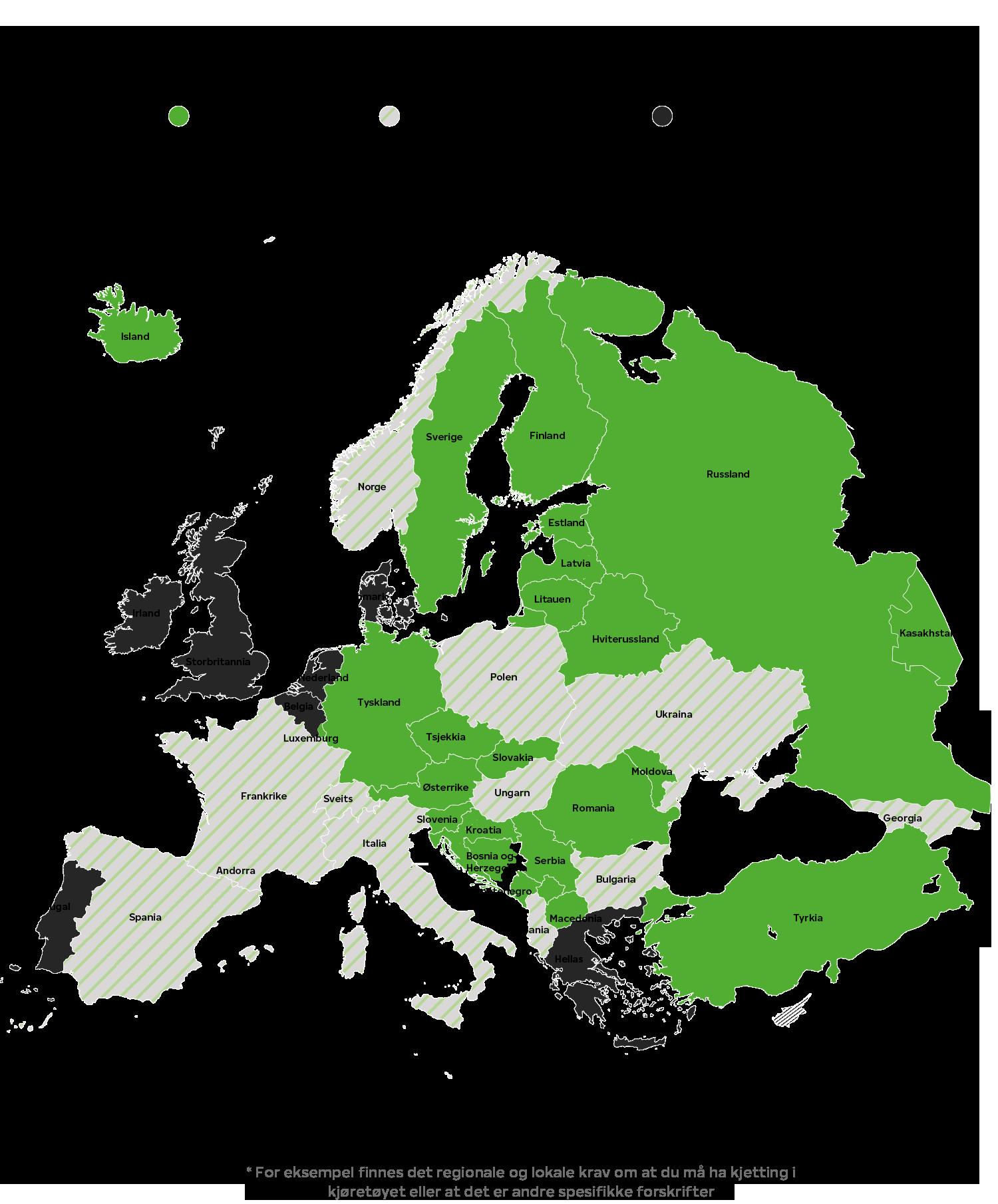 Vinterdekkforskrifter i Europa