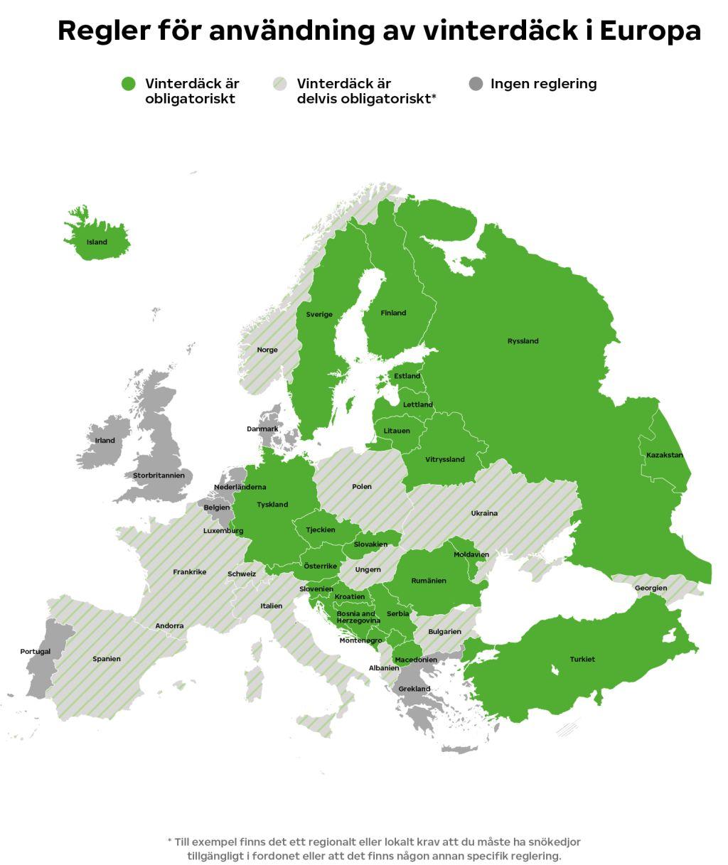 Vinterdäck-regler i Europa