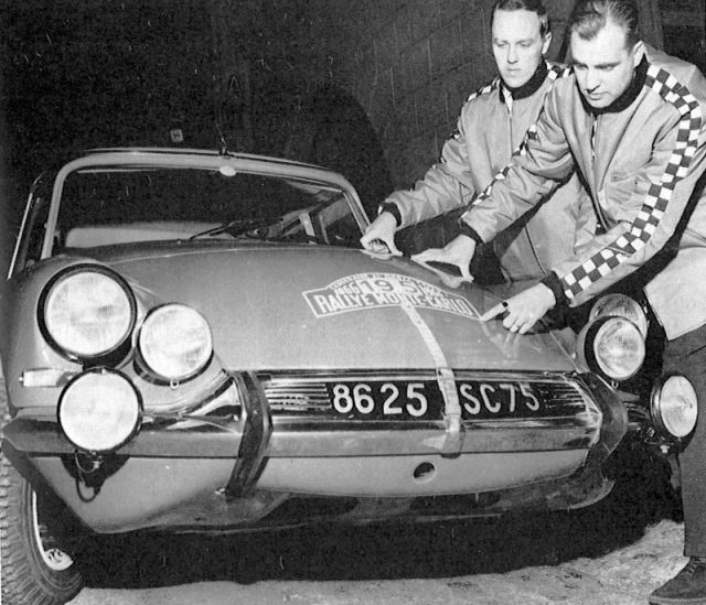Hakkapeliittas and the Citroën arriving at Monte Carlo in 1966. Pauli Mäkinen (on right) and Ensio Mikander were declared the winners of the race, after the top names Timo Mäkinen, Rauno Aaltonen and Paddy Hopkirk had been disqualified due to their lights.