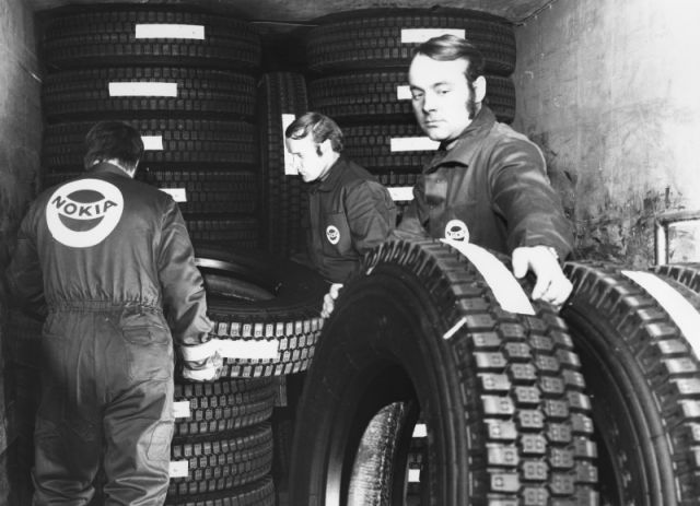 Lorry tyres being loaded for North America in 1967.