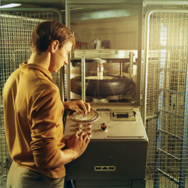 Structural integrity of a tire being tested with the testing machine in the 1970s.