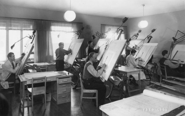Drawing office of the tyre department at the Nokia factory in the 1950s.