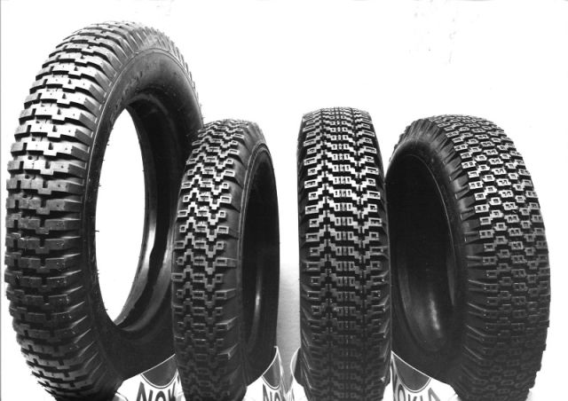 The first winter tires in the world. Kelirengas, Lumi-Hakkapeliitta, Haka-Hakkapeliitta, and Hakkapeliitta posing together.