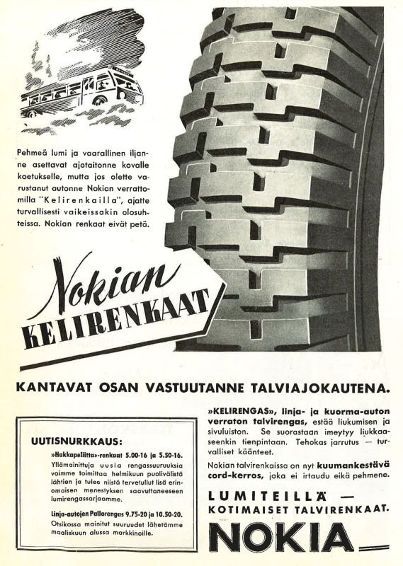 Kelirengas – The world's first winter tyre.  It was mainly designed to keep the vehicle on the road under soft and snowy conditions.