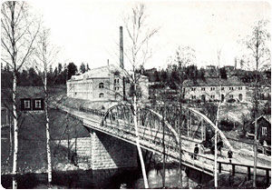 The factory buildings of Suomen Gummitehdas Osakeyhtiö in Nokia in the 1905.