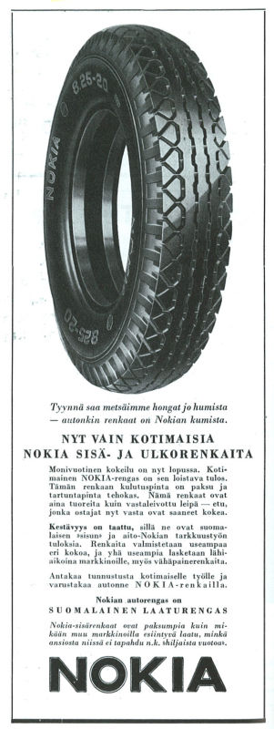 Advertisement for summer tyres from 1936.