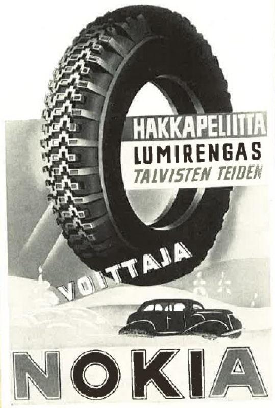 Печатная реклама шины Hakkapeliitta Lumirengas, 1937 г.
