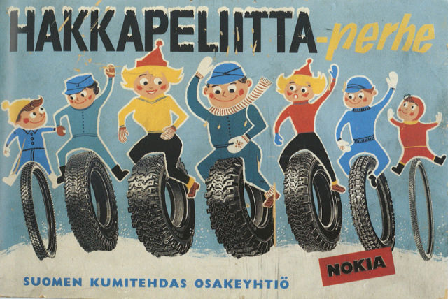 Happy Hakkapeliitta family. Advertising poster from the mid-1960s.