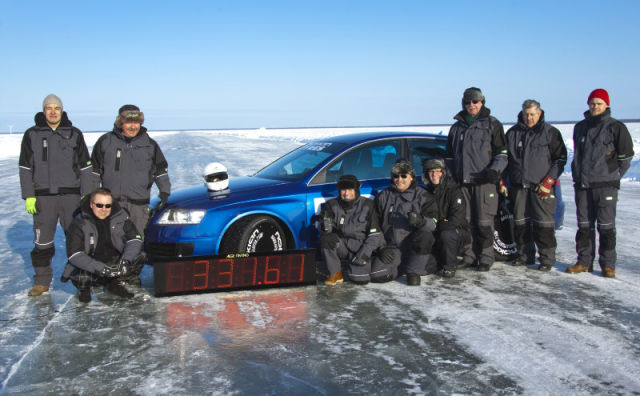 The new world record for driving on ice was made when test driver Janne Laitinen drove at a speed of 331.610 kilometres per hour (206.05 mph) on the ice of the Gulf of Bothnia, near Oulu.