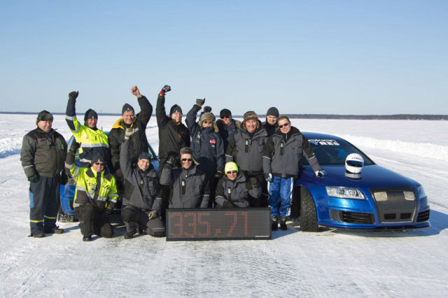 Janne Laitinen and the Nokian Hakkapeliitta 8 at world record speed.
