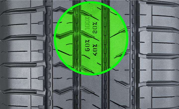 Kulumisvaroitin. (Driving Safety Indicator, DSI) (Nokian Rotiiva HT)