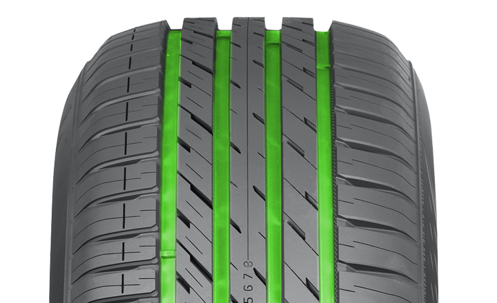 Nokian eLine 2. Polished Grooves. Effective aquaplaning prevention.