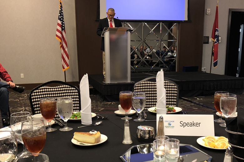 Nokian Tyres Dayton Factory Operations Director Peter Chia speaks at the awards banquet for Chattanooga Engineers Week