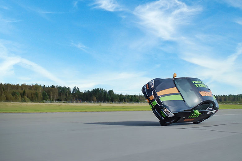 The new world record for the fastest car on two wheels is 186.269 km/h (115.742 mph)